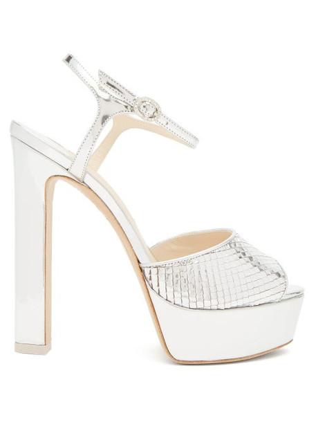 Sophia Webster - Natalia Snake-embossed Leather Platform Sandals - Womens - Silver