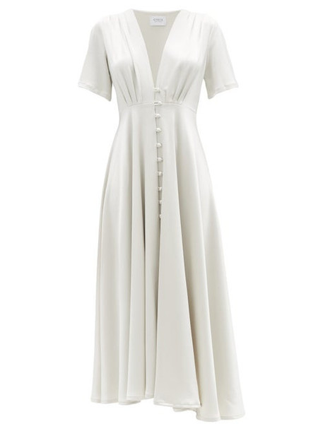 Gioia Bini - Carolina Buttoned Satin Midi Dress - Womens - Grey