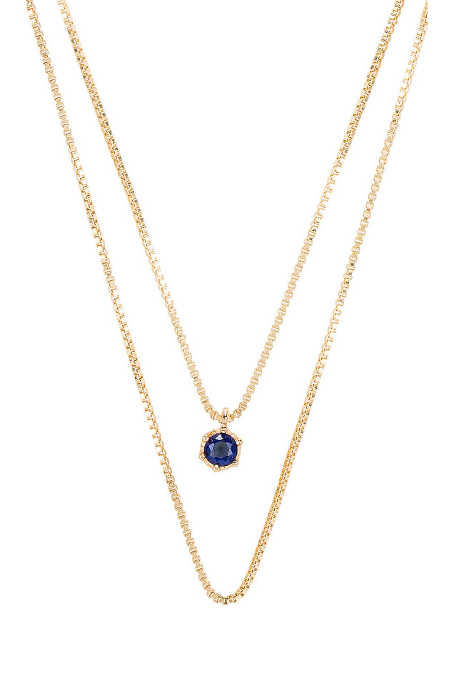 Natalie B Jewelry September Birthstone Necklace in gold / metallic