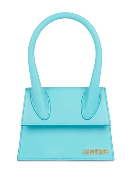 JACQUEMUS Le Chiquito Moyen Leather Top Handle Bag in turquoise