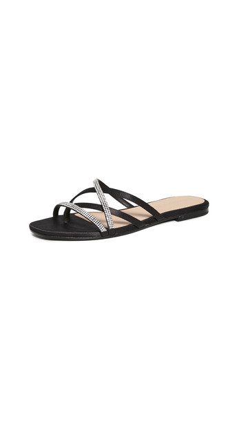 Veronica Beard Martha Slides in black / clear