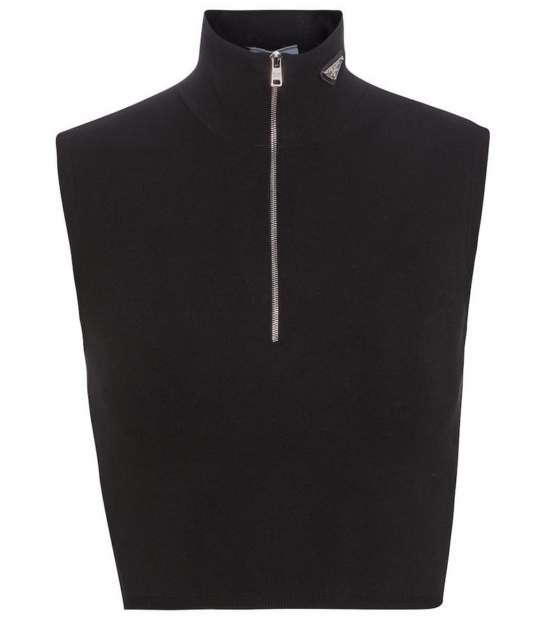 Prada Ribbed-knit crop top in black