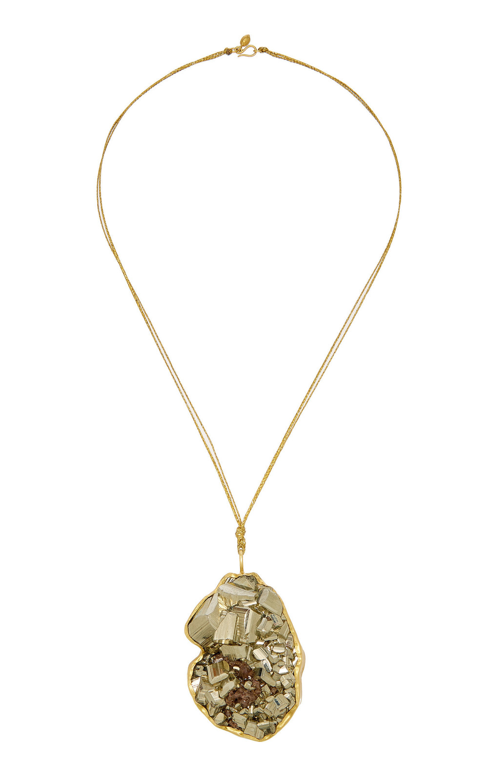 Pippa Small Dazzle Extra Large Colette Set Pyrite Pendant On Cord in gold