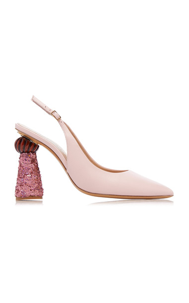 Jacquemus Loiza Block-Heel Leather Pumps Size: 36 in pink