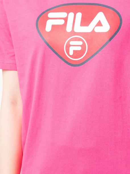 Fila logo-print crew neck T-shirt in pink