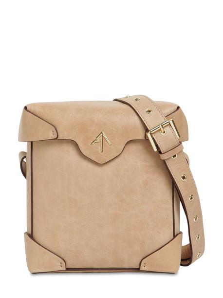 MANU ATELIER Mini Pristine Leather Shoulder Bag in beige