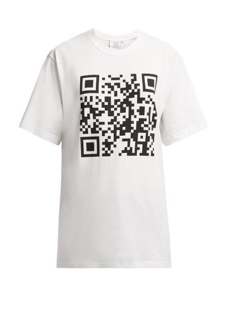Vetements - Qr Code Cotton T Shirt - Womens - White