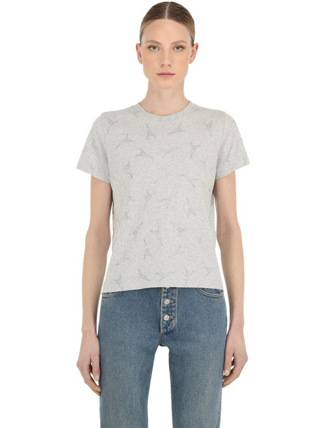 BALENCIAGA Eiffel Tower Embellished Cotton T-shirt in grey