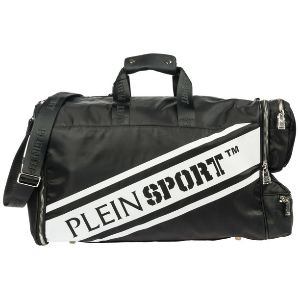 Philipp Plein Travel Duffle Weekend Shoulder Bag Nylon in black / white