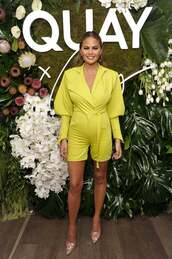 romper,neon,shorts,top,shirt,chrissy teigen,model,pumps,celebrity