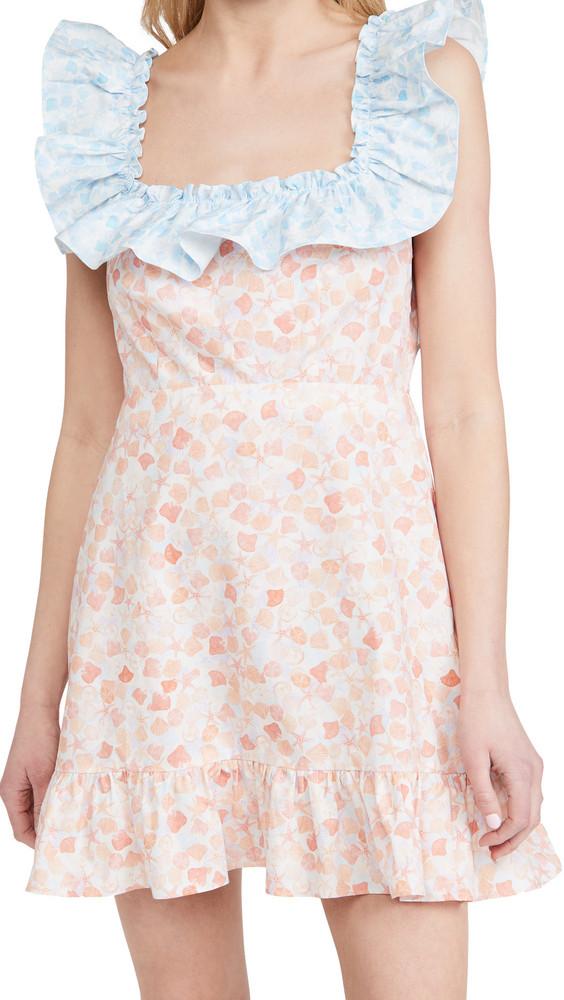 RIXO Kai Dress in teal / coral