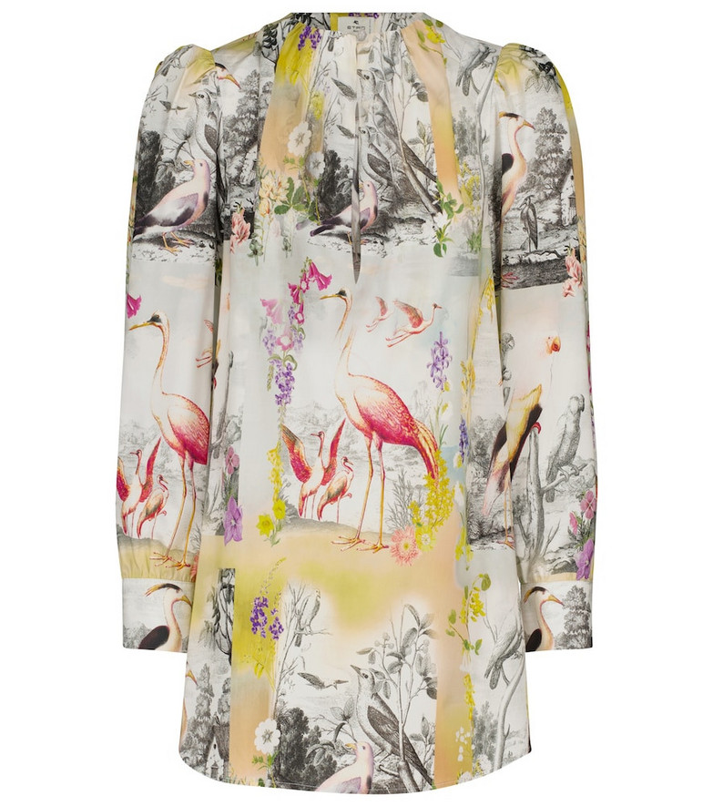ETRO Printed cotton blouse in white