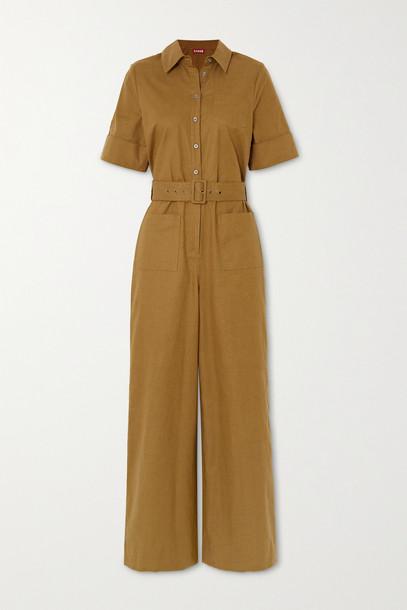 STAUD - Zavey Belted Linen-blend Jumpsuit - Green