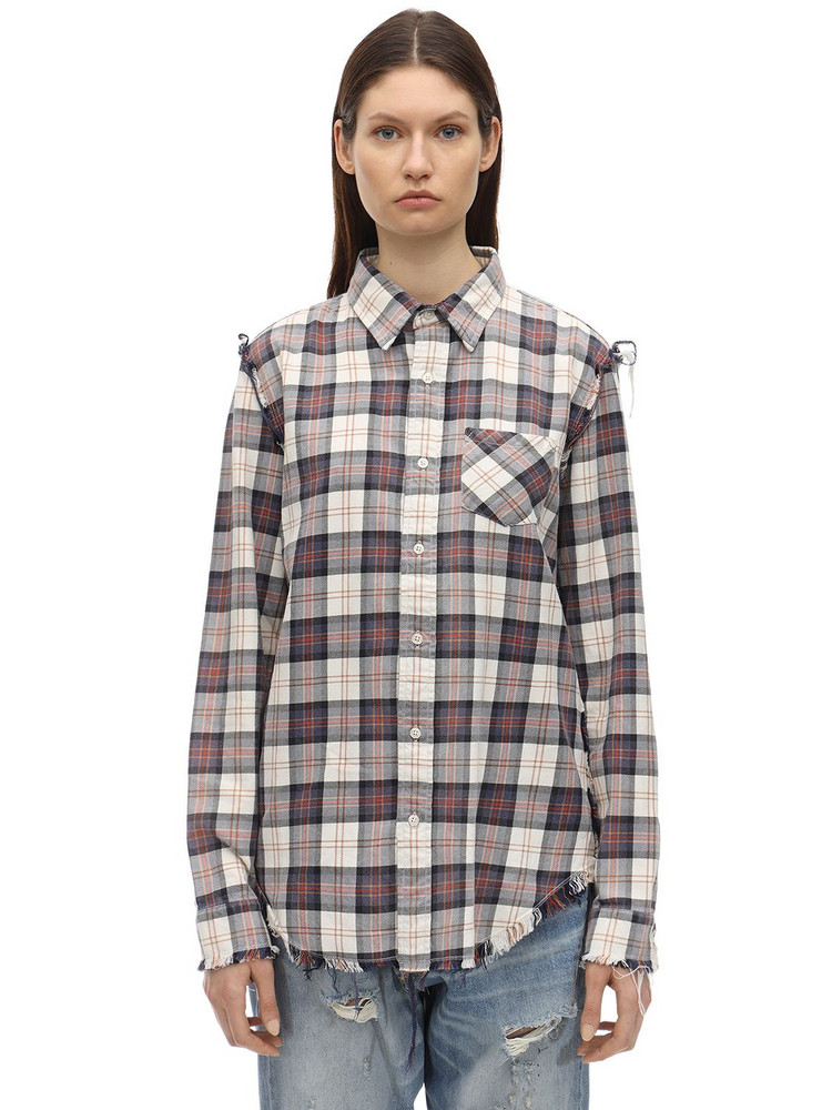 R13 Checked Cotton Shirt in blue / red