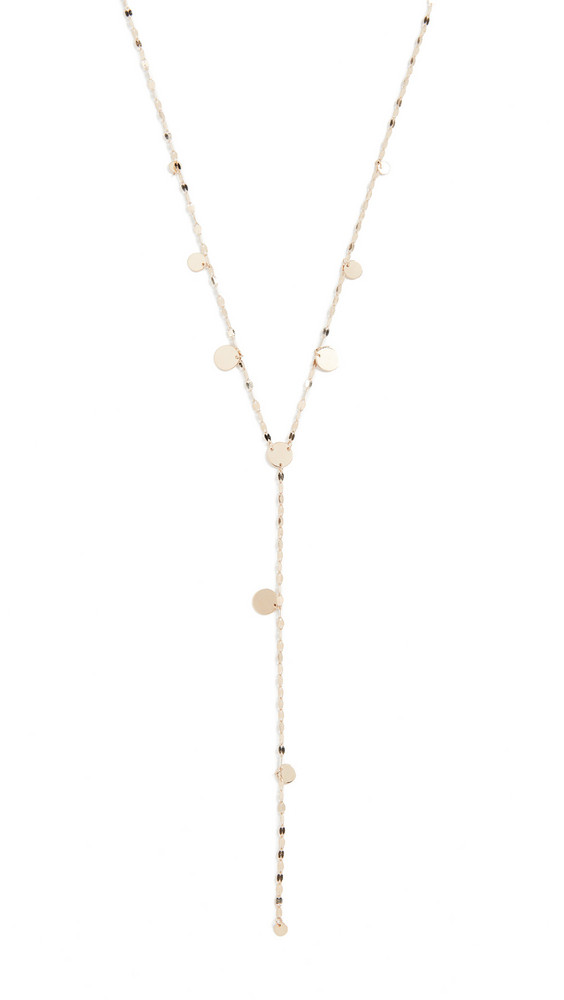 LANA JEWELRY Hanging Disc Y Lariat Necklace in gold / yellow