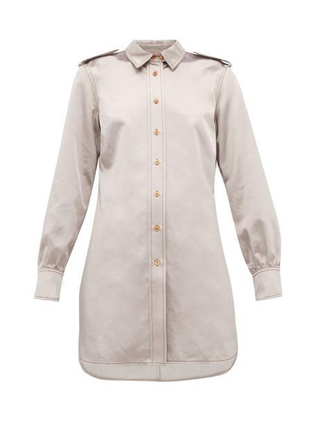 Sies Marjan - Kelsi Longline Cotton Blend Satin Shirt - Womens - Light Grey