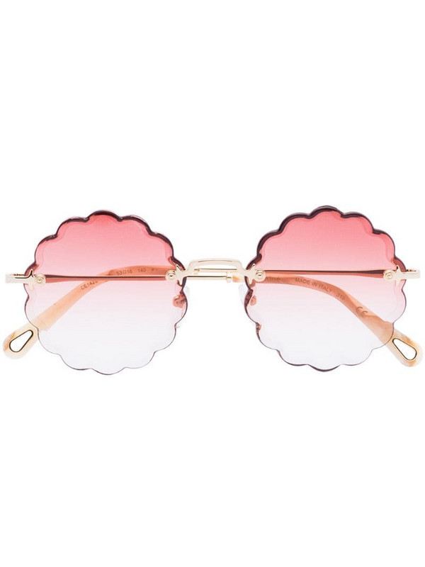 Chloé Eyewear Rosie round-frame sunglasses in gold / coral