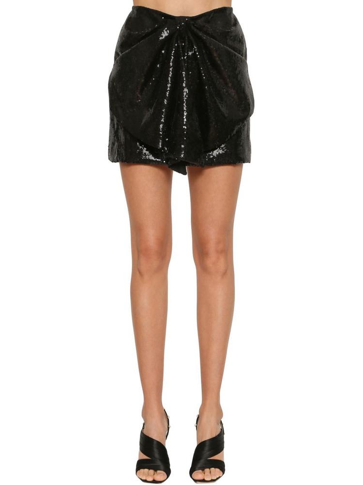 INGIE PARIS Sequined Draped Mini Skirt in black