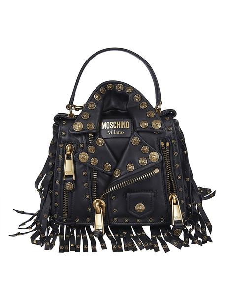 Moschino Studded Shoulder Bag in black