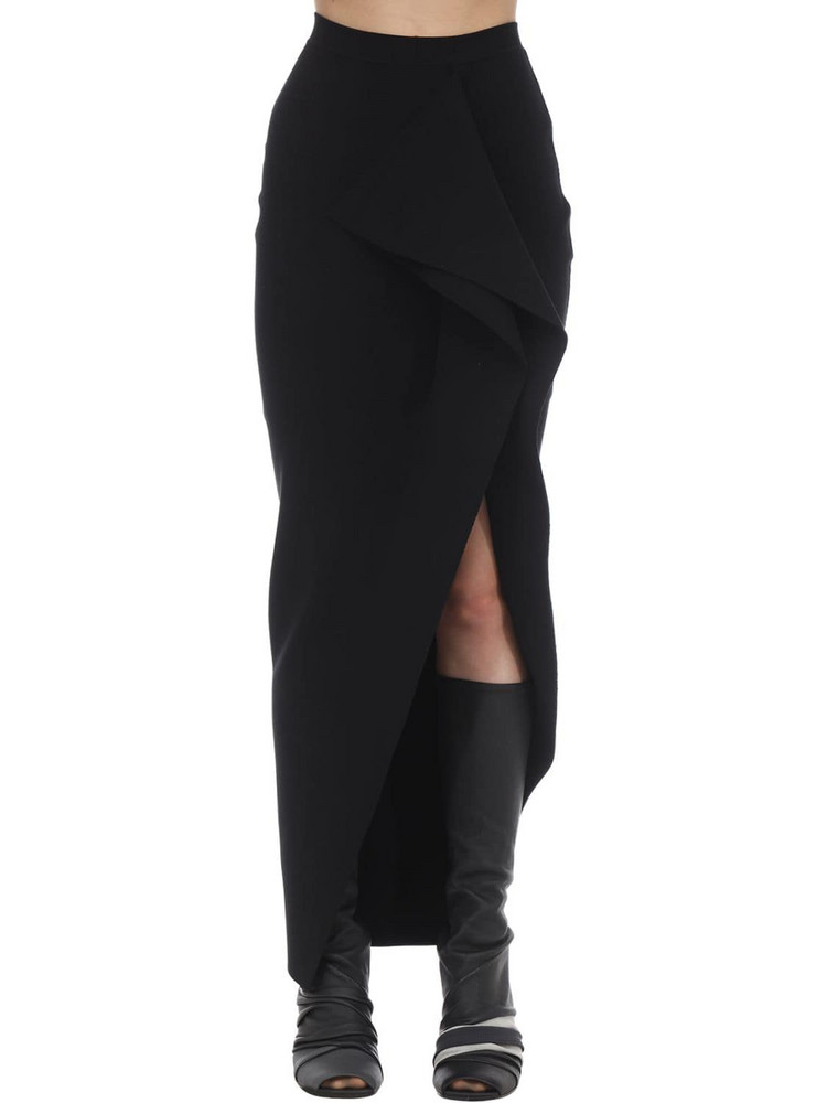 RICK OWENS Long Stretch Viscose Blend Knit Skirt in black