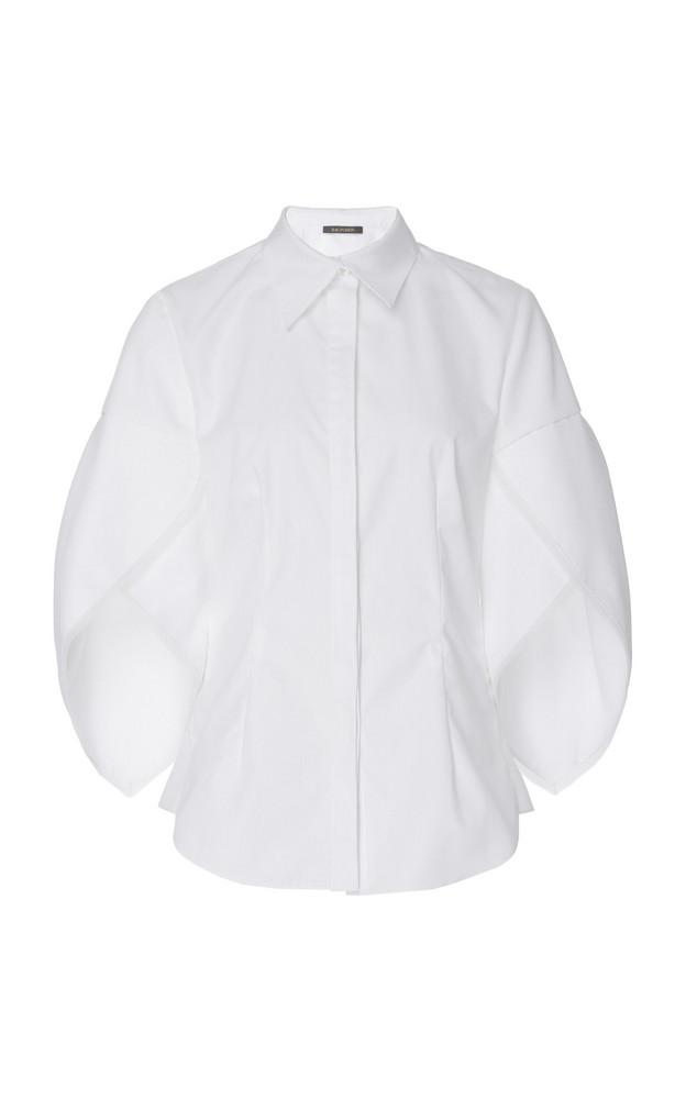 Zac Posen Button Down Shell Sleeve Cotton Shirt in white