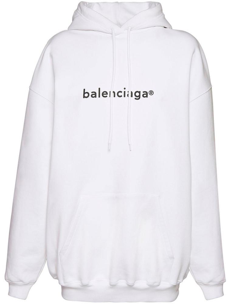 BALENCIAGA Over Logo Print Cotton Jersey Hoodie in black / white