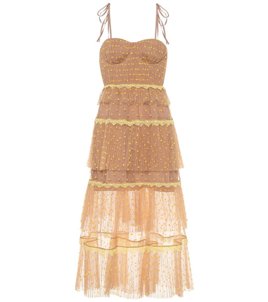 Self-Portrait Polka-dot tulle dress in beige