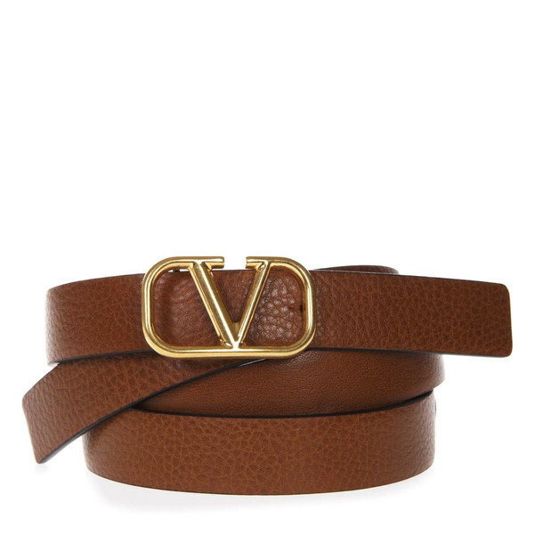 Valentino Garavani Light Brown Gros Grain Leather Logo Belt