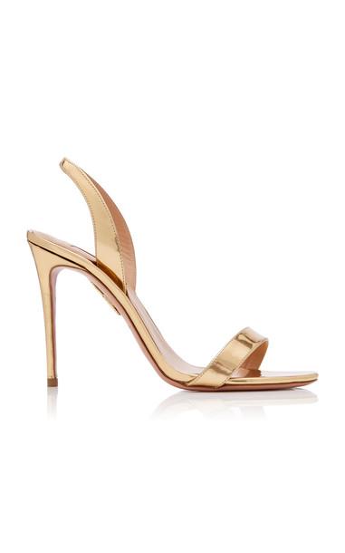Aquazzura So Nude Metallic Leather Slingback Sandals in gold