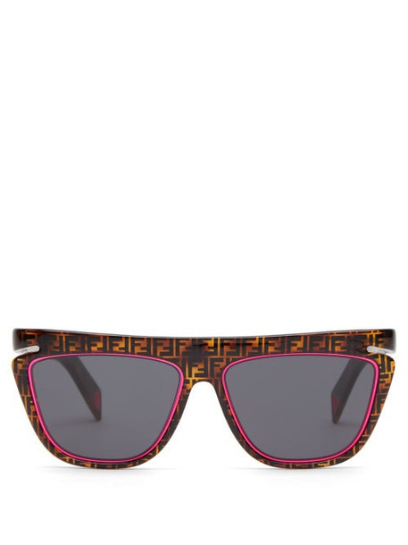 Fendi - Ff Logo Flat Top Square Optyl Sunglasses - Womens - Brown Multi