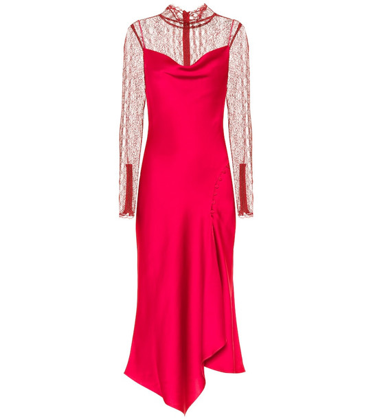 Jonathan Simkhai Satin and lace midi dress in red