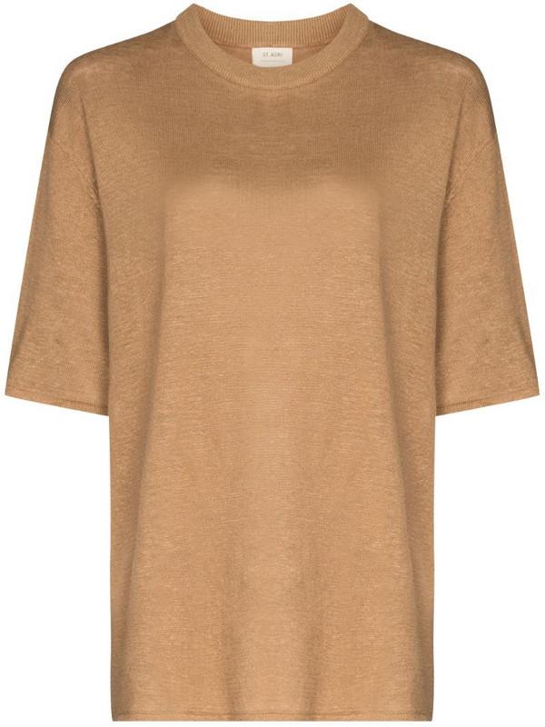 St. Agni CCopain Linen Short Sleeve T-Shirt in brown