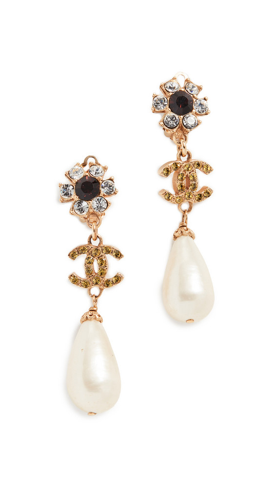What Goes Around Comes Around Chanel Crystal Floral Drop Earrings in gold