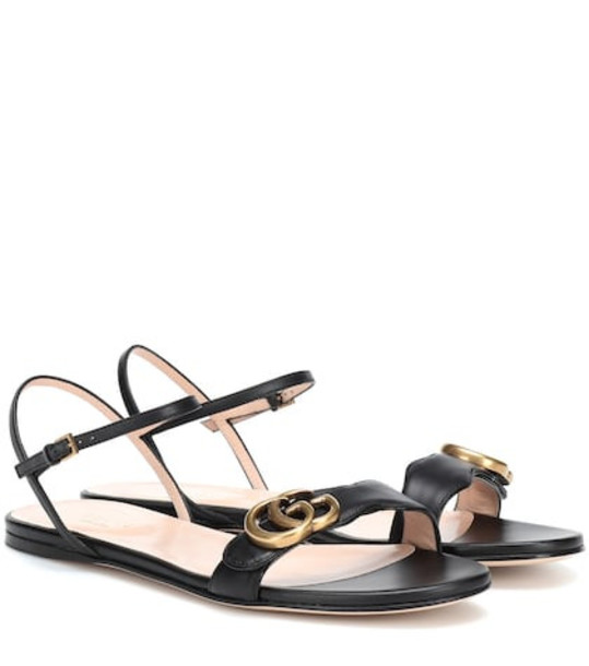 Gucci Double G strap leather sandals in black