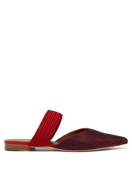 Malone Souliers - Maisie Point Toe Canvas Mules - Womens - Burgundy Multi