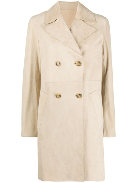 Yves Salomon double breasted mid-length coat in neutrals