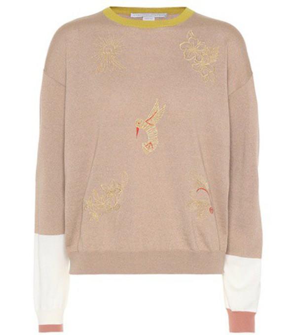 Stella McCartney Embroidered wool sweater in beige