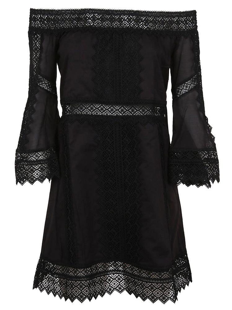 Charo Ruiz Off Shoulder Perforated Dress in black