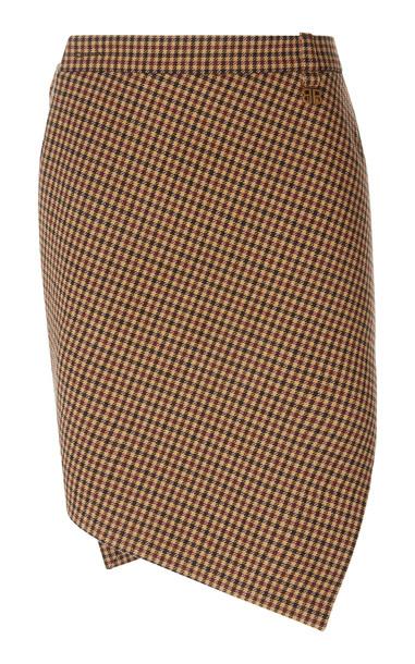 Balenciaga Asymmetric Houndstooth Wool Mini Skirt in brown