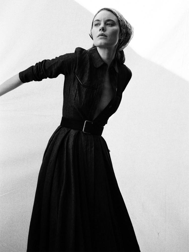 BROCK COLLECTION Linen Denim Shirt Midi Dress in black