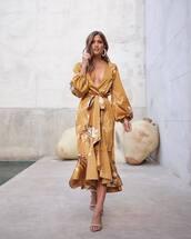 dress,midi dress,long sleeve dress,wrap dress,gold,floral,sandals