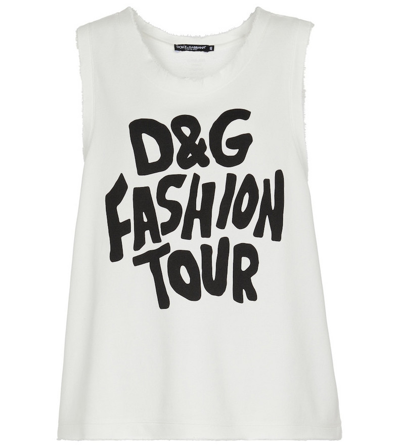 Dolce & Gabbana Logo-printed cotton top in black
