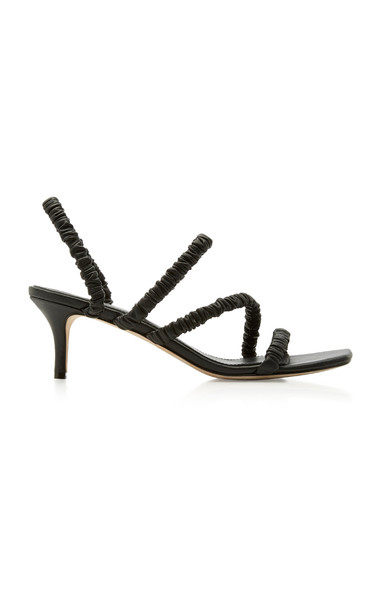 Mara & Mine Theresa Ruched Leather Slingback Sandals in black