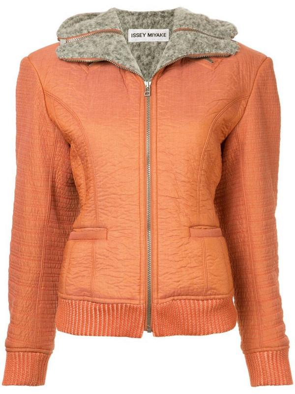 Issey Miyake Pre-Owned zipped hooded jacket in grey