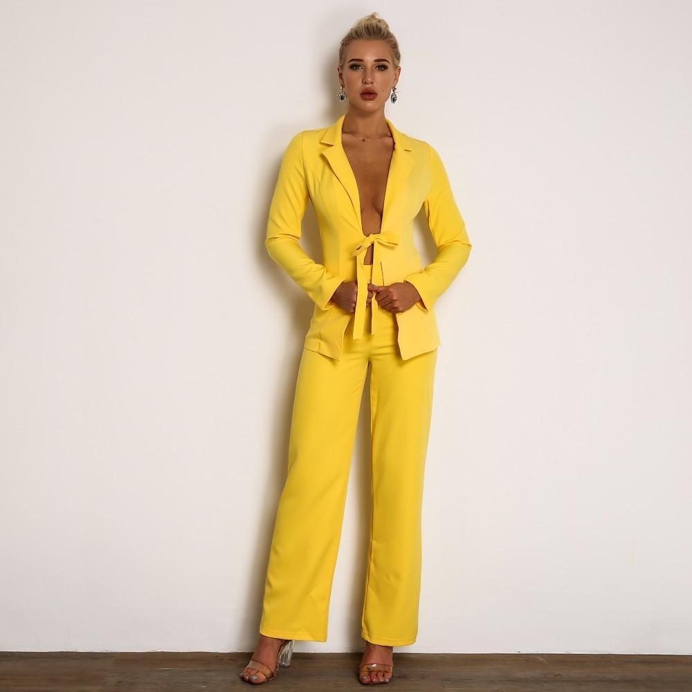 yellow blazer and pants co-ord