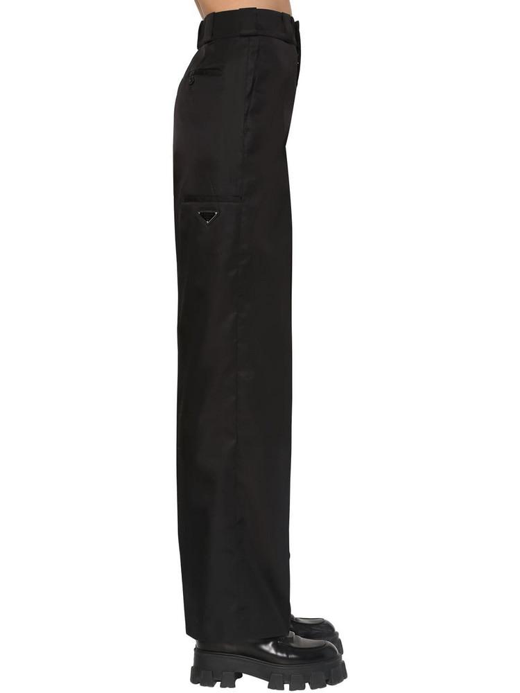 PRADA Logo Nylon Gabardine Pants in black