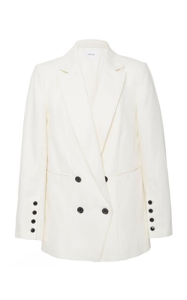 FRAME Oversized Double-Breasted Linen-Blend Blazer in white