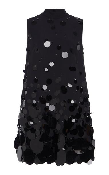 Prada Paillette Embellished Mini Dress in black