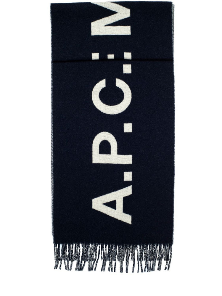 A.P.C. Jacquard Logo Wool Fringed Scarf in navy / white