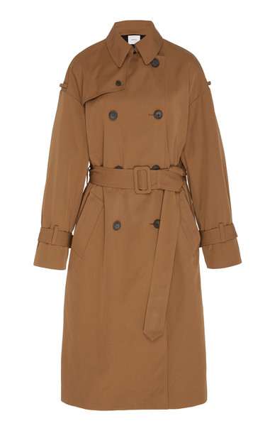 Vince Coated Gabardine Trench Coat in brown
